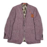Tallia Mens Blazer Jacket Slim Fit Linen Derby Horse Lining Pink/White 46L