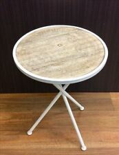 MOROCCAN ETCHED TABLE 47CM HOME FURNITURE DECOR MEATAL WOOD WHITE