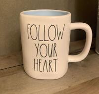 Rae Dunn - FOLLOW YOUR HEART - White Ceramic Coffee Mug - Blue Interior