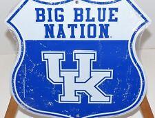 "UNIVERSITY KENTUCKY ""BIG BLUE NATION"" FACTORY DISTRESSED 12X12 ROAD METAL SIGN"