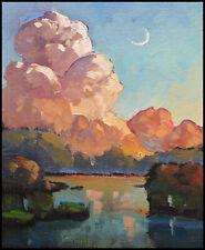 Wm HAWKINS Moon Clouds Lake River Landscape Study Impressionism Oil Art Painting