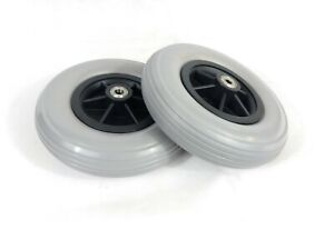 "Pair of 8""x 2"" (200x50) Wheelchair (Tyres) Solid Castor Wheels (10mm Bearings)"