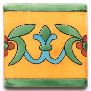 "Handbemalte Fliese ""Lilia Mango"" aus Mexiko, Kacheln, ca. 10x10cm, Bordüre"