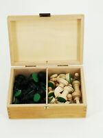 Schachspiel Figuren  Holz geschnitzt Schachfiguren in Holzkiste größe 17 x 12 cm