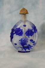Chinese Carved glass snuff bottle Blue Celestial eye fish cameo style glass