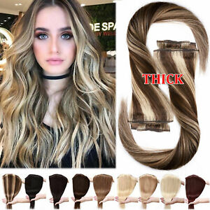 170G THICK Double Weft Human Hair Extensions Clip In Remy Hair Weave Full Head M