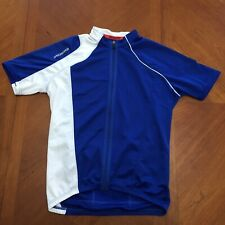 Specialized Mens Medium Blue White Full Zip Cycling Jersey Bike Shirt w Pockets