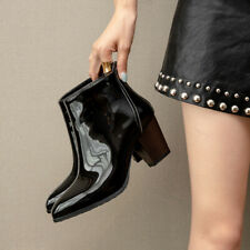 Womens Fashion Pointed Toes Block Heels Patent Leather Ankle Chelsea Boots Luc