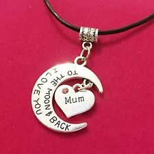 Antique Silver Plt 'I Love You To The Moon & Back Mum' Necklace Pendant Gift