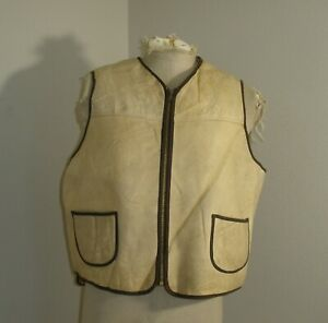 Vintage 60s 70s Le Girard Shearling Wool Suede Leather Full Zip Front Vest 46 48