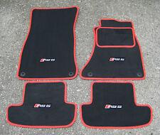 Grigio Scuro/Rosso SUPER VELOUR Tappetini Auto Audi RS5 10-16 + RS5 Logo x4