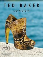 Ted Baker Women's Ankle Boots Sinerx Embossed Snakeskin Curved Heel Size 5 Uk