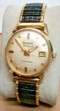 "EXTRA FINE~1964 Bulova~""DATE KING""~30J Swiss Automatic 10KGF Mens Watch NEW BAND"