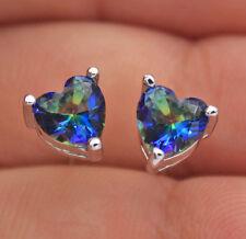 18K White Gold Filled - 6*6mm Heart Blue MYSTICAL Rainbow Topaz Prom Earrings