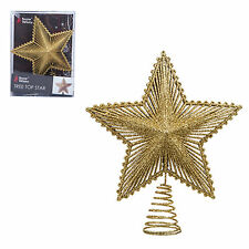 Christmas Tree Top Star 200mm Full Glitter Decoration - Gold