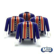 playmobil® 4 x Oberkörper mit Arme blau rot gold | Musketier Garde Pirat