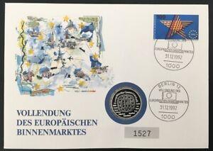 Bund Numisbrief Europäischer Binnenmarkt 1992 Silber-Medaille Genscher 999/1000