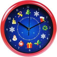 "9.5"" Musical Christmas Xmas Wall Clock Festive Tunes Home Office Novelty Decor"