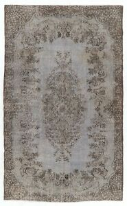 6x10 Ft Vintage Handmade Turkish Rug Re-Dyed in Gray Color for Modern Interiors