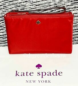 NWT Kate Spade Medium Double Zip Wristlet JAE Favorite Red