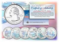 2009 HOLOGRAM U.S. MINT TERRITORIES QUARTERS * Set of 6 Coins * with Capsules