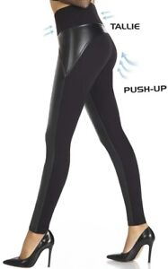 Shape-Leggings mit teilw. Lederoptik Gr. S-XXL * formend modellierend Push-Up