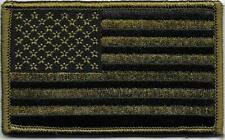 Olive Green Black United States US Flag Patch VELCRO® BRAND Hook Side Only