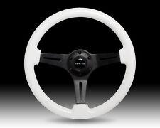 NRG WHITE Wood Grain Steering Wheel BLACK Center 3-Spoke 350mm GLOW IN THE DARK