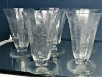 "VINTAGE CRYSTAL ICED TEA OR WATER~GLASSES 5 3/4"" TALL ETCHED FLORAL"