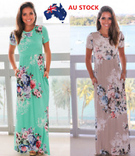 Plus Size AU Women Floral Short Sleeve Boho Long Maxi Dress Beach Party Sundress