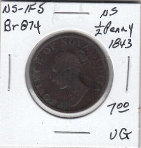 1843 Nova Scotia 1/2 Penny Token - NS-1F5 - VG