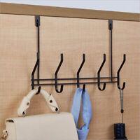 Over-The-Door Hook Rack Iron 5 Hooks Hanger Storage Holder Hanging Coat Hat