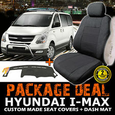 HYUNDAI I-Max Custom SEAT COVERS 3 ROW SET + Dash Mat 02/2008-2017 Charcoal IMAX