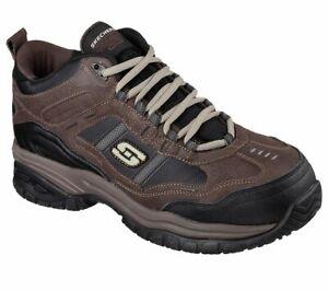 Skechers 77027 Men's Work Relaxed Fit Soft Stride Canopy Comp Toe Shoe, BRBK