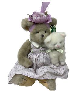 """Bearington Collectible MITTIE & KITTY 16"""" Adorable  Bear w/ White Cat #143143"""