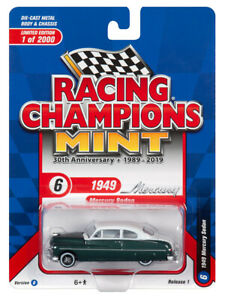 2019 RC 1:64  RACING CHAMPIONS MINT 1B = White & Green 1949 Mercury Sedan *NIP*