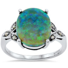 Green Lab Opal Seed Pearl Antique Victorian Style .925 Silver Ring Size 8, #142