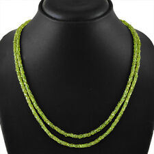 BEST 150.00 CTS NATURAL RICH GREEN PERIDOT 2 LINE ROUND FACETED BEADS NECKLACE