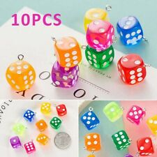 10Pcs/set Figurines Transparent Dice DIY Craft Resin Cabochon Earring Pendants