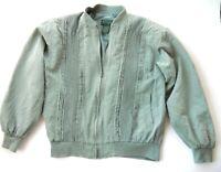 Scandia Woods womens Medium 100% Silk Sage Green Jacket Bomber Lined