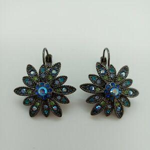 Joan Rivers Blue & Green Floral Leverback Earrings $14.99