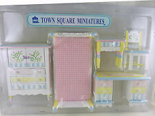 Dollhouse Miniature Child's Painted Bed and Desk Set, 5 piece, EMWF488