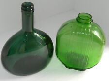 2 Vintage Bottles Ribbed refrigerator light green dark green oval Marked 11 231