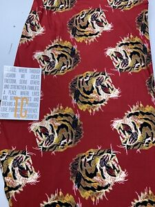 LuLaRoe TC Leggings Gorgeous Red With Tigers