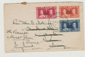 New Zealand Cook Islands - 1937 KGVI Coronation Cover to England Redirected 82*
