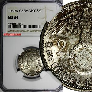 Germany-Third Reich Silver 1939 A 2 Reichs Mark NGC MS64 Hindenburg KM# 93 (013)