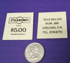 VALE $5 Good For Mercancia FILANUMIS Stamp Coin ARECIBO Puerto Rico 1980 UNUSED