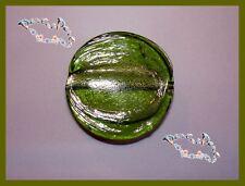 PERLE PLATE ronde 25mm STYLE MURANO OLIVINE VERRE