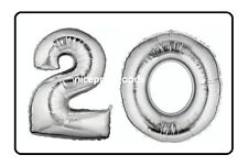 JUMBO 40 INCH FOIL NUMBER 20 20TH HELIUM BALLOON PARTY BIRTHDAYS BALLOONS EVENTS