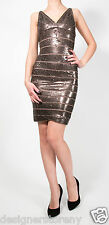 Herve Leger Sequin Mariah Dark Bronze Dress in XXS MSRP $2500